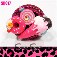 Kawaii Kitsch Hot Pink Lollipop Donut Ice-cream Statment Ring SR017