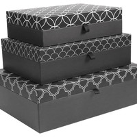Geo Nesting Boxes, Black/White, Set of 3, Office Supplies