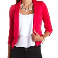 Asymmetrical Cropped Blazer by Charlotte Russe - Virtual Pink