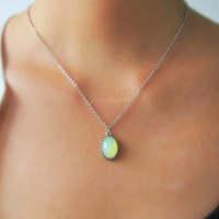 Mint Green Necklace Silver Necklace Gold Necklace Chrysolite Opal Necklace Glass Stone Oval Layered Necklace Rustic Modern Jewelry Gift C1