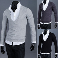 Men's Fashion Slim Fit Deep V Neck Tee