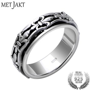 Vintage Anchor Pattern Rings Solid 925 Sterling Silver Turnable Rings for Men and Women