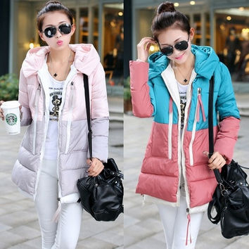 New winter mixed colors Korean military mounted large yards long down jacket hooded coat female = 1747717572