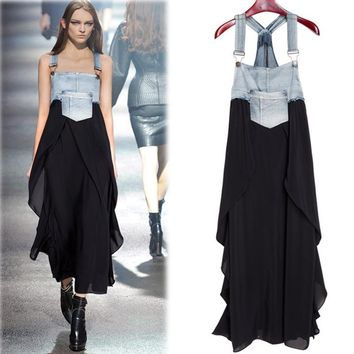 Denim and Layered Chiffon Overall Style Jumper Dress