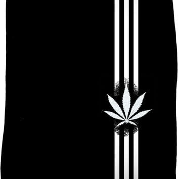 420 Black fleece blanket, ganja leaf and three stripes, weed, marihujana themed