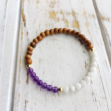 HEALING THE SOUL ~ Genuine Amethyst, Moonstone & Rosewood Bracelet w/ Gold-Filled Accents