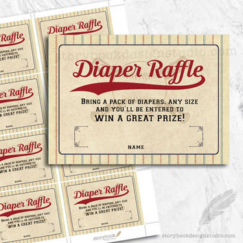 Baseball Baby Shower Diaper Raffle Tickets