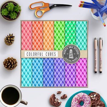 Colorful Digital Paper Colorful Cubes Rainbow Colors Red Orange Yellow Blue Purple Green Clip Art Cube Pattern Digital Download 12x12 inches