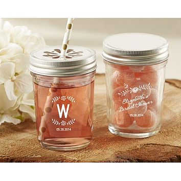 Personalized Printed Glass Mason Jar - Kate's Rustic Bridal Shower Collection (Set of 12)