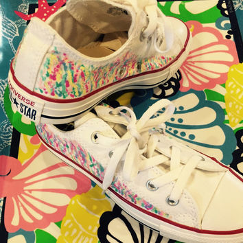 Lilly Pulitzer inspired design painted on Converse sneakers