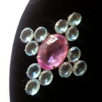Vintage Pink Blue Rhinestone Brooch Pin, 1950s 1960s Mid Century Mad Men Mod Hollywood Regency Vintage Costume Jewelry