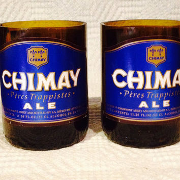 Chimay Beer Bottle Tumbler Drinking Glasses. Man Cave. Recycled Glassware.