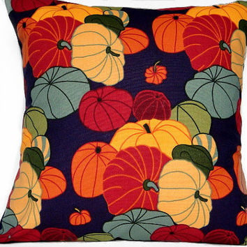 Pumpkins Pillow Cover Halloween Gourds - Red Green Purple Mustard Orange Rust Gray Blue - Repurposed 18x18
