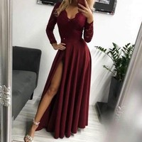 Burgundy Lace Long Sleeves Chiffon Prom Dress Side Slit Dark Red Evening Formal Gown G2652