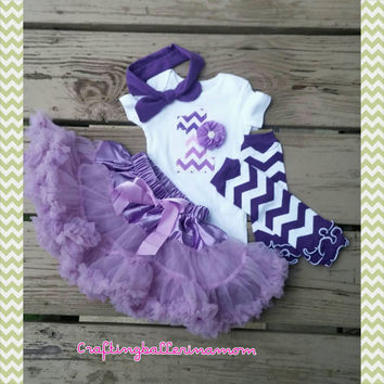 Purple Chevron First Birthday Outfit - Ombre - Pettiskirt - Tutu - Headband - Top knot - Leg Warmers - Lavender - Photo Prop - Ruffle - Girl