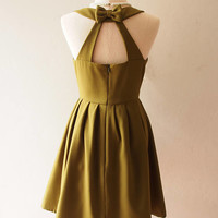 LOVE POTION - Olive Green Dress Olive Green Bridesmaid Dress Backless Dress Vintage Inspired Sundress Summer Dress Trending Dress #207