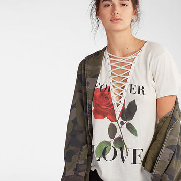 Love Rose Lace-Up Graphic Tee