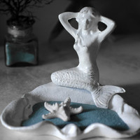 Cast Iron Mermaid with Dish by beautifuldetailswed on Etsy