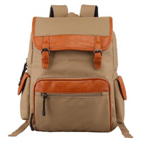 Unisex Casual Canvas Leather Backpack Daypack Travel Bag