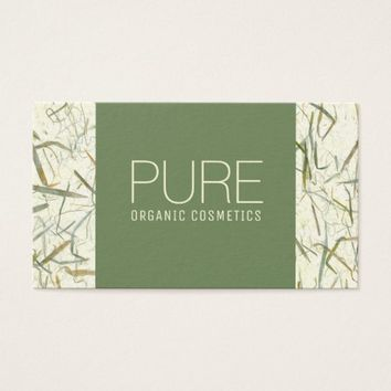 Forest Green Beige Organic Cosmetics Business Card