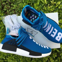 ADIDAS X PHARRELL PW HUMAN RACE NMD BB0618 BOOST Blue Running shoes for Women & Men Size: 36--46