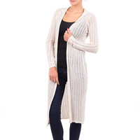 Long Open Front Cardigan With Hood-Beige-Small - UK (8-10)