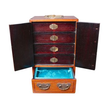 Pre-owned Vintage Asian-Inspired Wood and Brass Jewelry Box