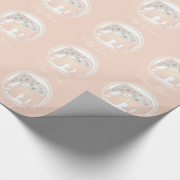 Pastel Rose Pink Paisley Elephant Cute Elegant Wrapping Paper