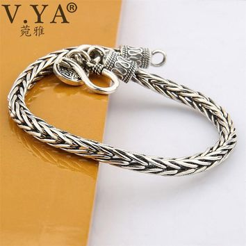 V.YA Punk Men Jewelry Thai Silver Bracelets for Men Infinity Pattern Bracelet Retro Silver Bracelet Men 4MM Wide Bracelet Men