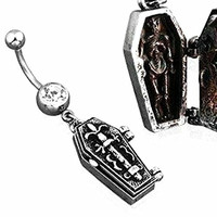Belly Button Ring Single Gem Navel Coffin Dangle angle Skeleton Dagger Skull 14g 3/8""