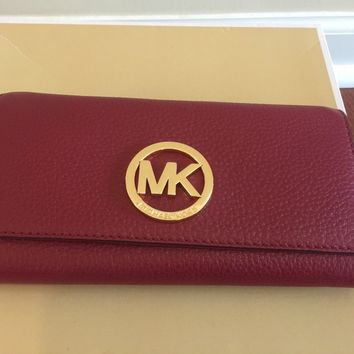 NWT MICHAEL KORS MK Signature Fulton Flap Continental Wallet Mulberry