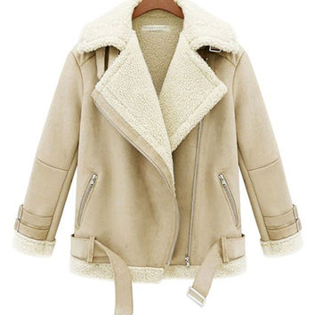 Beige Short Wool Suede Long Sleeve Winter Jacket Coat