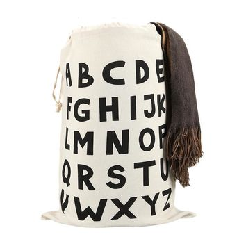 Alphabet ABC Drawstring Bags Cinch String Backpack