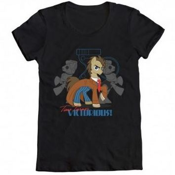 My Little Pony Dr. Hooves and The Cybercolts Adult Black T-Shirt