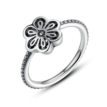 Vintage 100% 925 Sterling Silver Lace Floral Daisy Ring Authentic Fine Jewelry for Women Wedding Compatible with pan Jewelry