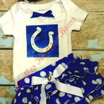 Girls Indianapolis Colts Cheerleader Outfit, Baby Girls Football Coming Home Outfit