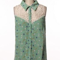 Graceful Wings Bird Print Lace Yoke Sleeveles Blouse in Mint | Sincerely Sweet Boutique