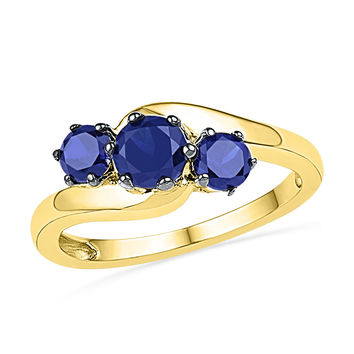 10kt Yellow Gold Womens Round Lab-Created Blue Sapphire 3-stone Ring 1-1/2 Cttw 101273
