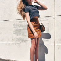 Brown Suede Button Front Mini Skirt