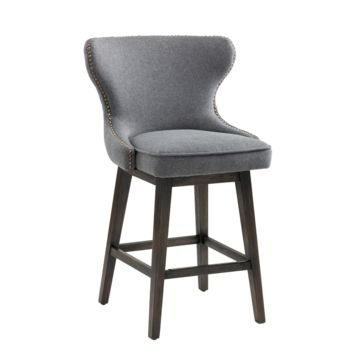 REILLEY SWIVEL COUNTER STOOL DARK GREY FABRIC