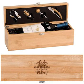 God Created Mothers Wine Box - One Bottle Set With Tools