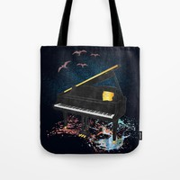 Sound of Piano Tote Bag by Berwies