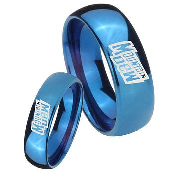His Hers Mirror Blue Dome Mountain Dew Tungsten Carbide Wedding Rings Set