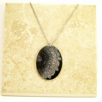 Oval Pendant of Black and Silver, Polymer Clay Jewelry, Wearable Art, Pendant Necklace