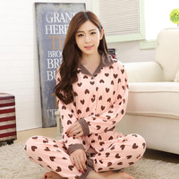 Spring Autumn Women Pajama Sets 2017 New Lovely Heart Print Casual Homewear Cotton Comfy Sleepwear High Quality