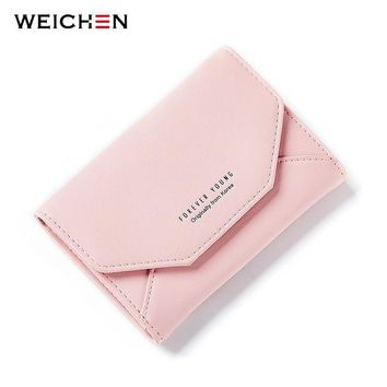 WEICHEN 2017 New Ladies Small Purse Wallet Envelope Shape Women Slim Wallet Hasp Coin Pocket Card Holder Female Carteira Purses