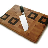 Cutting Board End Grain Maple and Black by BillsWoodenPleasures