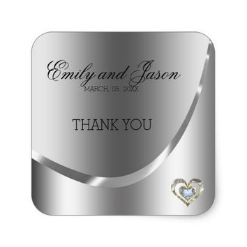 Diamonds Heart And Silver Background-Thank You Square Sticker