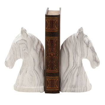 Outstanding Ceramic Marble Finish Bookend Pair 4In W 8In H
