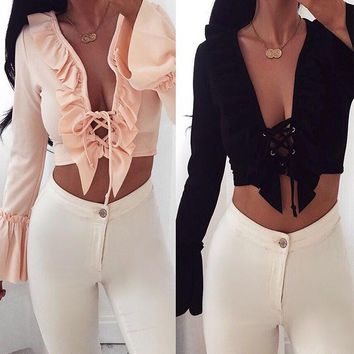 Deep V-neck Ruffles Lace Up Long Sleeves Short Crop Top